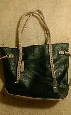 Beautiful Blue PU Leather Purse Bag Oversized with Gold and Tan Accents!