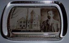 M.E. Church Cattaraugus NY / Pastor John Bates Antique Glass Photo Paperweight