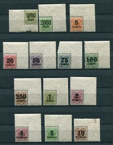 GERMANY WURTTEMBERG 1923 INFLATION OVPTS O76-088 PERFECT MNH CORNERS (13 STAMPS)