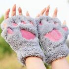 Women Winter Soft Warm Fingerless Paw Gloves Fluffy Bear Cat Plush Paw Chic