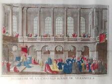 Gravure ancienne 18 siècle chapelle chateau Versailles Louis XIV Roi France