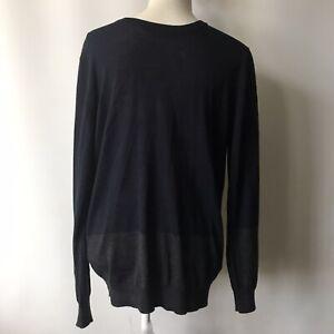 Isaac Mizrahi New York Wool Rich Jumper Pullover Blue / Charcoal Mens Large
