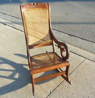 Antique 1890 LINCOLN Victorian Carved Rose Floral Maple Wood Cane Back Rocker