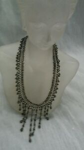 Beautiful Lois Hill Bali Indonesia sterling 925 dangle fringe bib  necklace