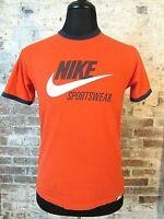 VTG Nike Sportswear Ringer Ring Neck T-Shirt Orange Retro BIG SWOOSH Men's M