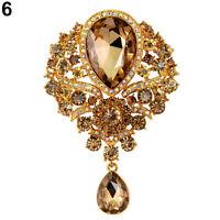 Gold Cystal Large Flower Drop Scarf BROOCH Pin Broach Badge Diamante Rhinestone