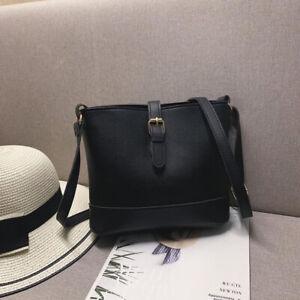 Women Fashion Bucket Bag Shoulder Crossbody Bags Belt Metal Buckle Zipper Bag