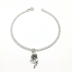 Rose Flower Charm Anklet Sterling Silver Plated Chain Link Women's Jewelry