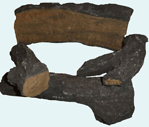 NEW THIS YEAR LARGE DELAMERE 4PC HD GAS FIRE REPLACEMENT LOG SET COAL FIRES