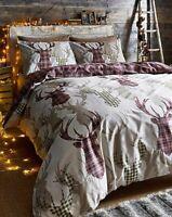Natural Tartan Stag Deer Animal Check Reversible Duvet Quilt Cover Set Bedding