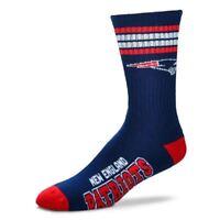 New England Patriots For Bare Feet NFL 4-Stripe Deuce Crew Socks SZ M