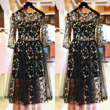 Fashion Women Mesh Embroidery Floral Evening Party Wedding Cocktail Split Dress
