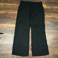 EUC Soft Surroundings Black Sheer Linen Wide Leg Pull On size L Women's Pants
