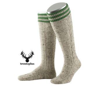 Trachtenstrümpfe farbiger Bund  Zopfmuster Trachtenkniestrümpfe Socken Lusana