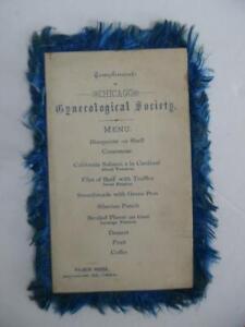 1884 Chicago Gynecological Society Menu Palmer House Hotel Medical Antique RARE