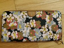 Fossil Women's Zip Around Leather Wallet Sydney Dark Floral Navy - New W/O Tags