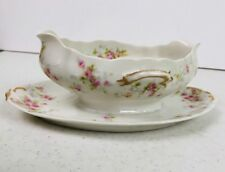 HAVILAND LIMOGES SAUCE DISH GRAVY BOAT  WITH UNDER PLATE, ROSES & GOLD