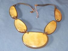 Chunky Gold-Tone Metal Honey Lucite Slab Necklace