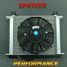 """30 ROW AN10 Engine Transmission Aluminum Oil Cooler Silver + 7"""" Electric Fan Kit"""