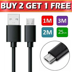 Micro USB Cable 1m 2m 3m Charging Charger Data Sync For Samsung Android Phones
