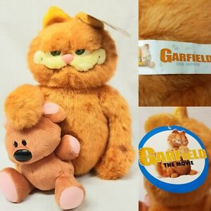 "Garfield The Movie 12"" Garfield Holding Teddy Bear Soft Plush Toy w/Tags 2004"