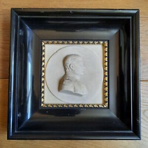 Portrait de Napoleon Bonaparte de Profil Calcaire Cadre Bois Milieu XXè