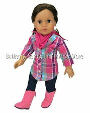 Plaid Blouse ~ Denim Jeggings- Bandana Fits 18 in American Girl Doll Clothes