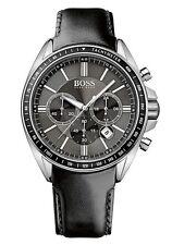 Original Hugo Boss HB1513085 Driver Crono Reloj De Hombre Cuero Negro nuevo!PVP
