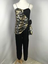 b22dbfbfce01 Vtg 1980 s Jumpsuit Gold Lame Bow Black Long Sleeve Evening Cocktail Party  Prom