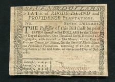 RI-287 JULY 2, 1780 $7 SEVEN DOLLARS RHODE ISLAND COLONIAL CURRENCY NOTE