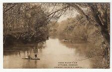 1909 Real Photo Postcard Park River View, Ottawa, Kansas Two Men in Boat