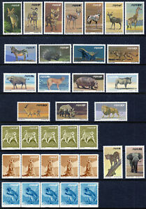 South West Africa 1980 QEII complete Wildlife & Coil set in strip of 5 MNH