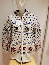 Amba-Moden Jacke Schafswolle Fleece unisex mollig warm Norweger Muster Größe XL