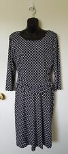 Women's Black White Geometric Knee-Length Dress, Size 12, En Focus Studio