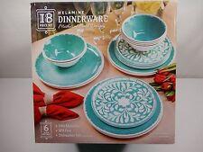 18 Piece 6 Place Setting 100% Melamine Dinnerware Set Teal Turquois MOP Design