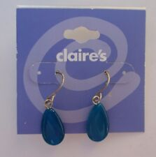 x Simple dangle teal turquoise blue dangle EARRINGS Claire's Jewelry tarnished
