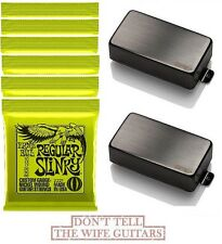 EMG 81 + 60 BRUSHED BLACK CHROME ACTIVE SET LONG SHAFT POTS (6 ERNIE BALL #2221)