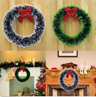 Christmas Decor Pine Garland Wreath Door Window Wreath With Red Bow Ornaments