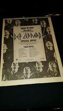 Def Leppard Rare Original High And Dry U.K. Tour Promo Poster Ad Framed!