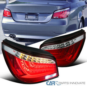 Fit 04-07 BMW E60 5-Series 525i 530i Red Clear LED Bar Tail Lights Brake Lamps