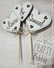 Wooden engraved personalised heart cake topper wedding hand made