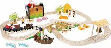 Pirate Island Railway Set Wooden Children Tracks Boys Girls Gold Cannon Fun Set