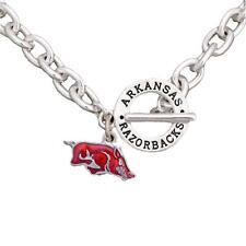 Arkansas Razorbacks Team Name Toggle Silver Necklace Red Enamel Charm Jewelry UA