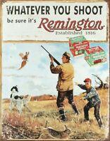 Remington Whatever You Shoot Ammo Distressed Retro Vintage Ad Metal Tin Sign