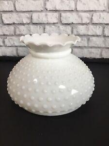 """Vtg Hobnail Milk Glass Lamp Shade 7"""" Fitter Ruffle Top Huricane Alladin Globe"""