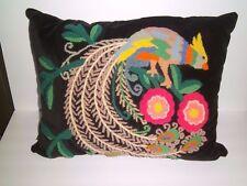 True Vintage Peacock Needlepoint Wool Chenille Velvet Shabby Pillow Wonderful!