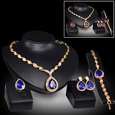 EG_ Women Party Waterdrop Cubic Zirconia Necklace Earrings Bracelet Ring Set Fas