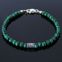 Trendy Celtic Modern Malachite Gemstone Bracelet Silver Bead Heart Chakra Stones