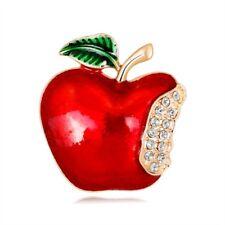 Banquet Scarf Pins Badge New Year Christmas Apple Brooch Corsage Gift Rhinestone