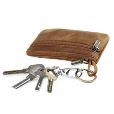 Vintage Men Leather Wallet Key Bag Case Portable Mini Coin Purse with Zipper